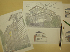 パース(簡単なスケッチ)を描き、色鉛筆で色を入れていきます。これで仕上がりをイメージしていただきます。