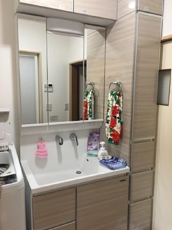 洗面化粧台は便利な三面鏡で、サイドにはトールキャビネットも設置し、収納力抜群です。